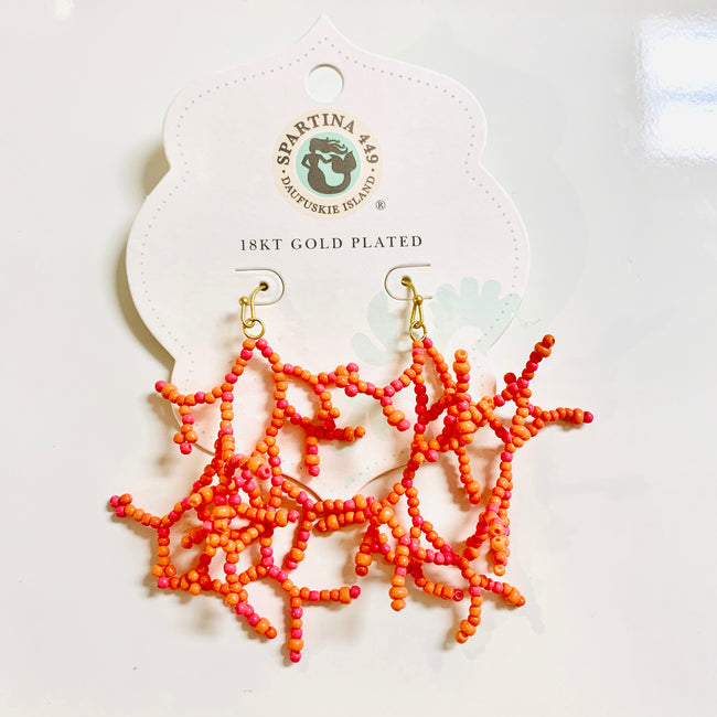 Beaded Coral Earrings Coral