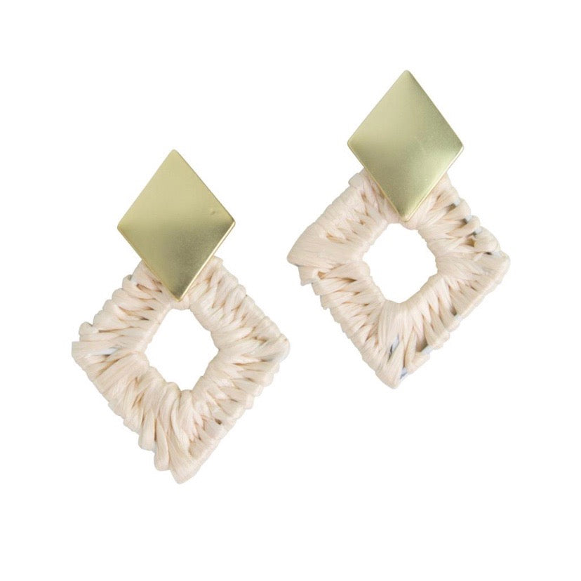 Acadia diamond rattan earrings