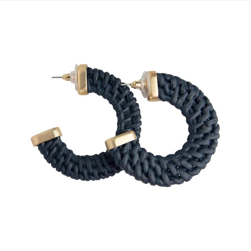 Somoa rattan hoop earrings