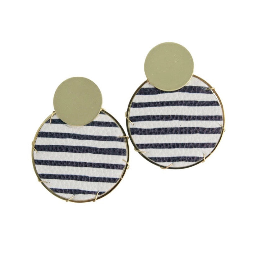 Lassen Navy Stripe leather Earrings