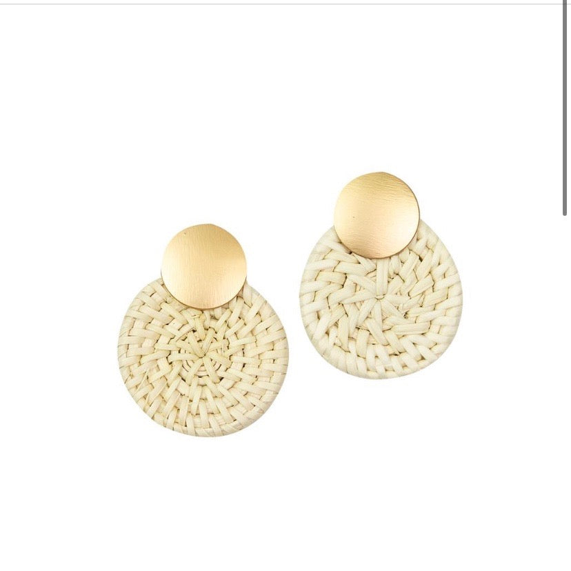 Bristol Rattan Gold Earrings