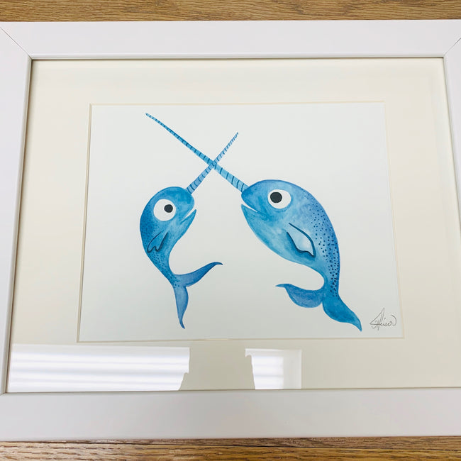 Illustration Narwhals 11x14