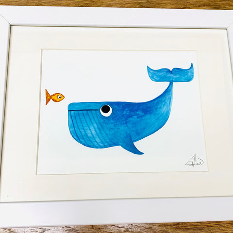 Illustration Krill Finds Whale 11x14