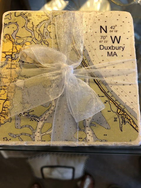 Duxbury Chart Coasters- With Coordinates
