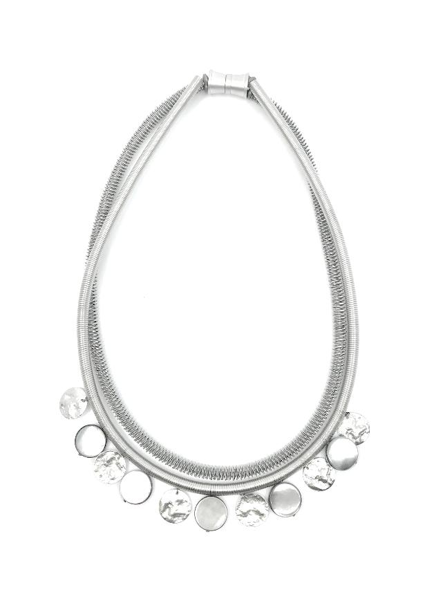Silver piano wire necklace with grey mop disc