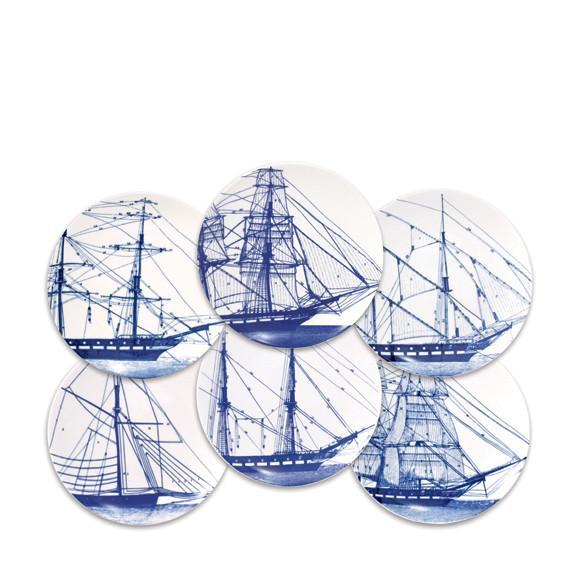 Rigging Blue Canape Plates set of 6