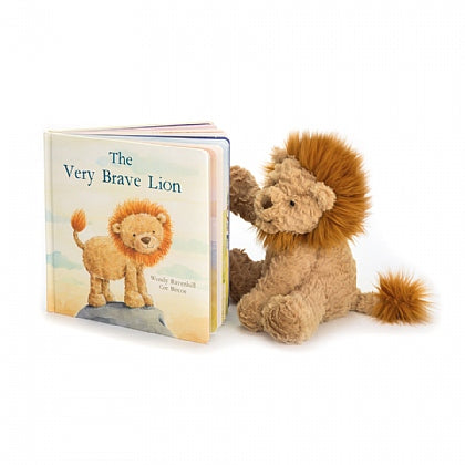 The Very Brave Lion book and Fuddlewuddle Lion stuffed animal