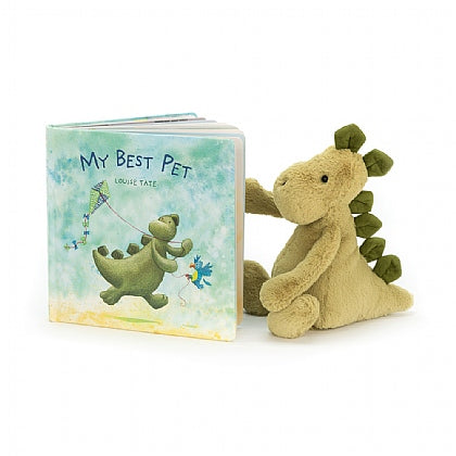 My Best Pet book and Trevor Triceratops stuffed animal