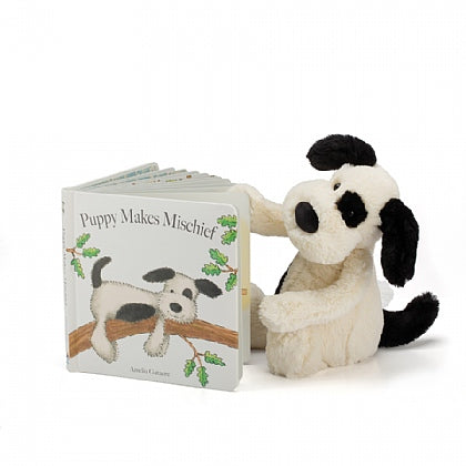 Puppy Makes Mischief book and Bashful Puppy stuffed animal