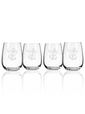 Rope & Anchor Stemless Glass
