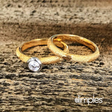 Yellow Gold Fingerprint Engagement Ring & Wedding Ring by DimplesCharms.com