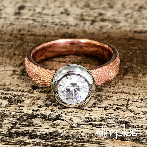 Fingerprint Engagement Ring & Fingerprint Wedding Band in Rose Gold by DimplesCharms.com