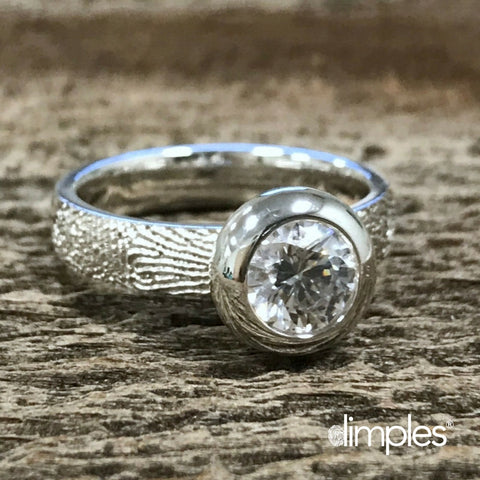 White Gold Fingerprint Engagement Ring by DimplesCharms.com
