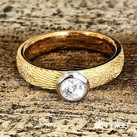 Fingerprint Engagement Ring in Yellow Gold by DimplesCharms.com