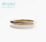 Stackable Fingerprint Ring in Yellow Gold by Dimples available at DimplesCharms.com