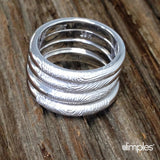 Stackable Fingerprint Rings in White Gold by Dimples available at DimplesCharms.com