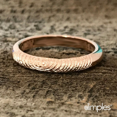 Rose Gold Fingerprint Ring by Dimples available at DimplesCharms.com