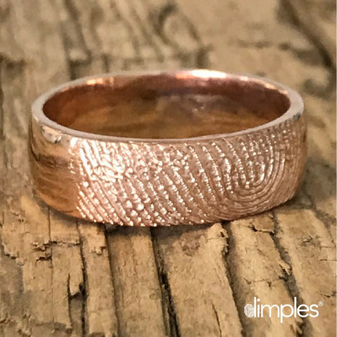Rose Gold Fingerprint Wedding Ring by DimplesCharms.com