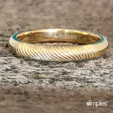 Yellow Gold Fingerprint Stackable Ring by Dimples available at DimplesCharms.com