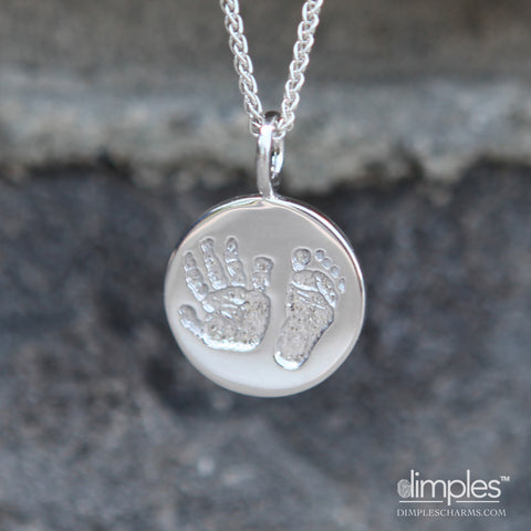 Hand and Footprint Charm Necklace by DimplesCharms.com
