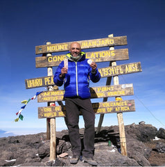 Jordanian Mountaineer Mostafa Salameh on Top of Africa (Kilimanjaro) with our Beard Products!