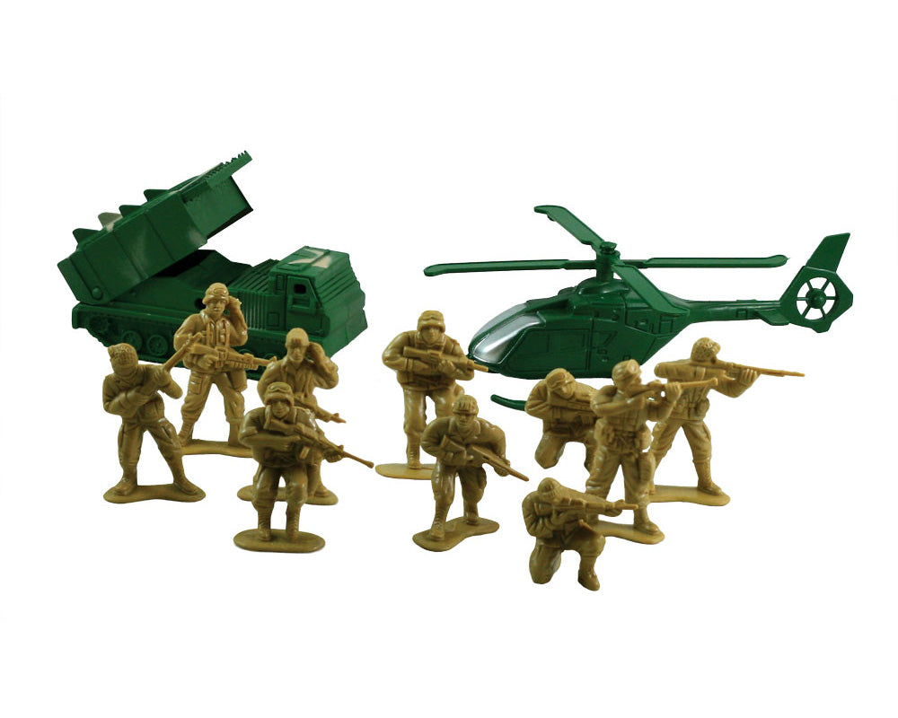 12 Piece Set of Plastic Army Men Troops featuring a Tank and Helicopter by Classic Armour.