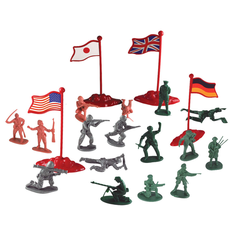 Deluxe 200 Piece Durable Plastic Combat Military Soldier Figure Army Men Playset with 200 Assorted Figurines in 4 Colors and Assorted International Flags from Four Countries.
