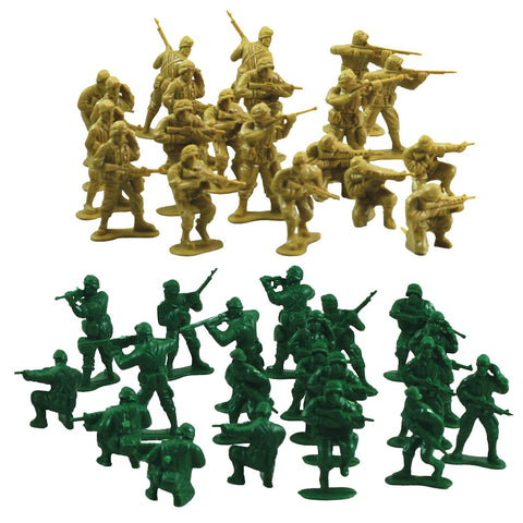 SET of 40 Durable Plastic Combat Military Soldier Figure Army Men that come in a Variety of Poses, 20 in Army Green and 20 in Tan.
