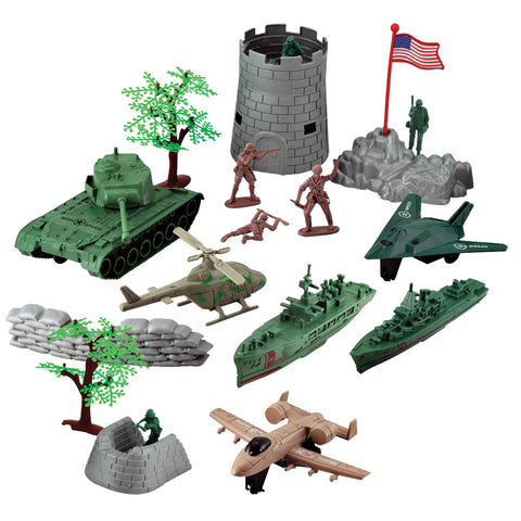 Deluxe Military Playset including 1 Tank, 1 Helicopter, 2 Aircraft, 2 Warships, Castle Tower, Bunkers, Trees, and Toy Soldiers in a Convenient Carry Case with Handle.