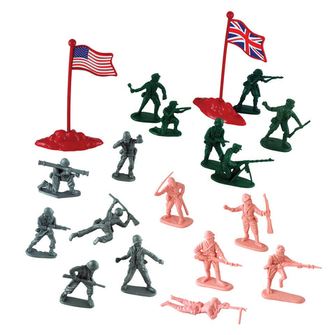 Deluxe 56 Piece Durable Plastic Combat Military Soldier Figure Army Men Playset with Assorted Figurines in 4 Colors and Assorted International Flags from Four Countries.