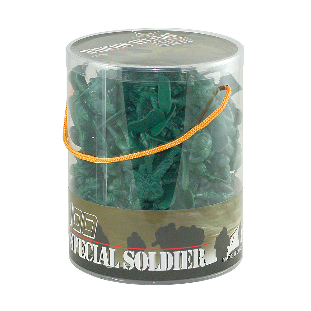 Classic Military Toy Soldiers in Carry Bucket 100-pc