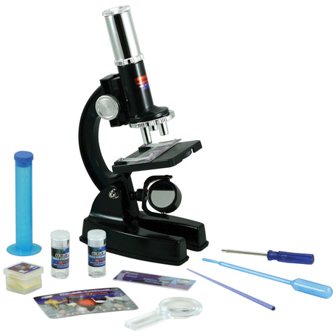 Deluxe 48-Piece Microscope Set with a 100x, 600x,1200x microscope, blank and prepared slides, cover slips, magnifying glass, collecting vials and more all in a Convenient Carrying Case by Eastcolight.