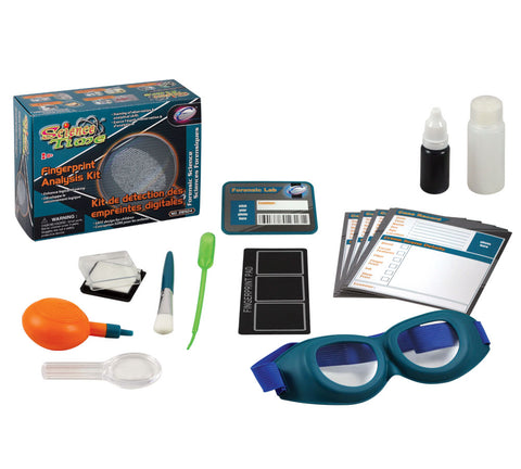 Safe, Educational, Hands On Science Kit that Teaches Basics of Fingerprint Identification. Comes with Stamp Pad, Brush, Magnifier, Goggles, Dusting Powder, Classification Cards and Educational, Easy to Follow Experiment Guide.