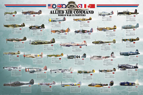 24 x 36 inch Non-Laminated Paper Poster Depicting World War II Fighters as used by the Allied Forces by EuroGraphics.