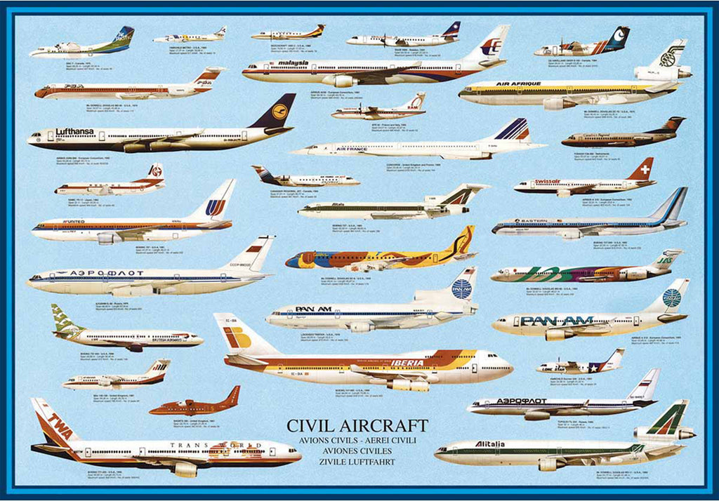 24 x 36 inch Non-Laminated Paper Poster Depicting Various Civilian Aircraft from around the World by EuroGraphics.