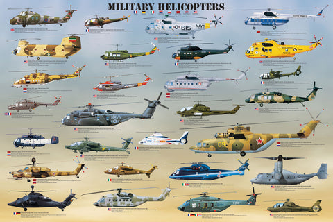 24 x 36 inch Non-Laminated Paper Poster Depicting Various Military Helicopter Aircraft throughout History by EuroGraphics.