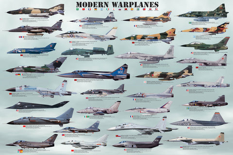 24 x 36 inch Non-Laminated Paper Poster Depicting Various Military, Stealth, Fighter, Bomber and Ground Attack Military Warplane Aircraft by EuroGraphics.