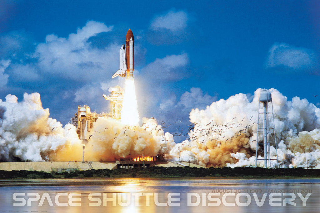 24 x 36 inch Non-Laminated Paper Poster Depicting the Space Shuttle Discovery Lifting Off from Kennedy Space Center by EuroGraphics.