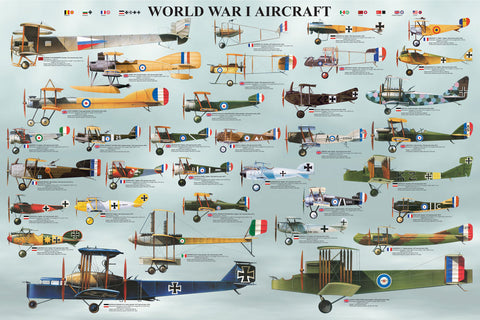 24 x 36 inch Non-Laminated Paper Poster Depicting Various  Biplane & Triplane Aircraft used during World War I by EuroGraphics.