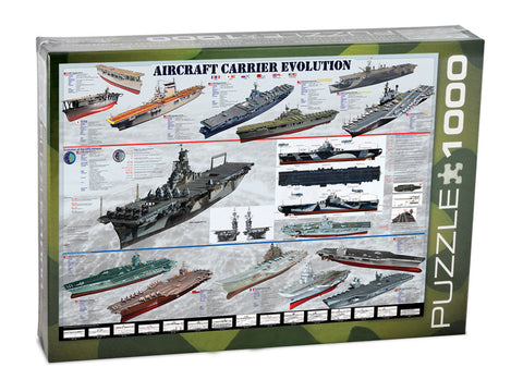 1,000 Piece Jigsaw Puzzle made from Recycled Paper depicting Evolution of Aircraft Carriers shown in its original packaging by EuroGraphics.