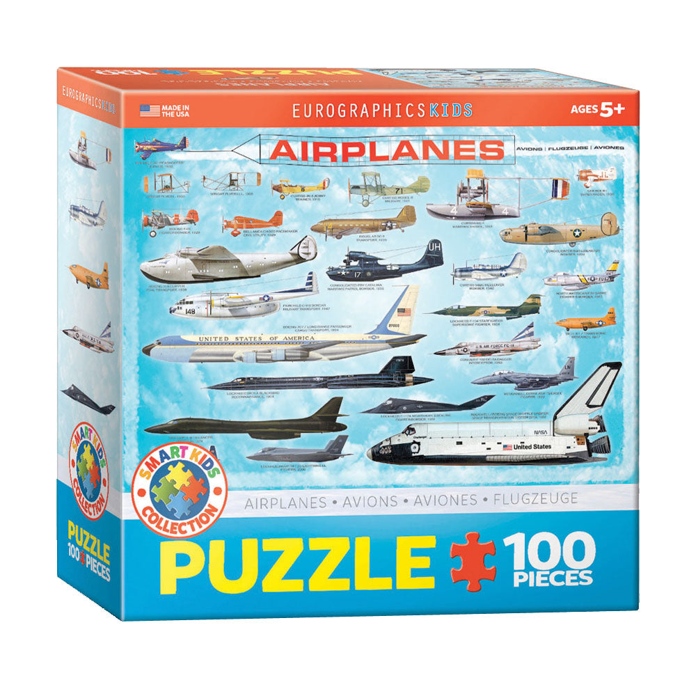 100 Piece Jigsaw Puzzle made from Recycled Paper depicting various Aircraft Throughout History in its original packaging by EuroGaphics.