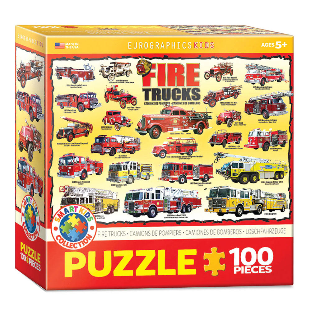 100 Piece Jigsaw Puzzle made from Recycled Paper depicting various Fire Trucks and Engines Throughout History in its original packaging by EuroGaphics.