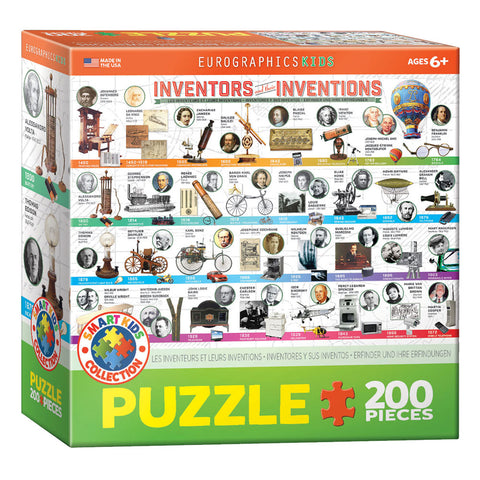 100 Piece Jigsaw Puzzle made from Recycled Paper depicting various Inventors and Inventions Throughout History in its original packaging by EuroGaphics.