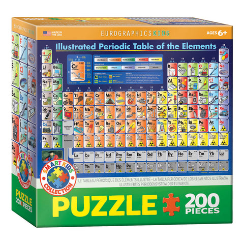 100 Piece Jigsaw Puzzle made from Recycled Paper depicting the Illustrated Scientific Periodic Table of Elements in its original packaging by EuroGaphics.