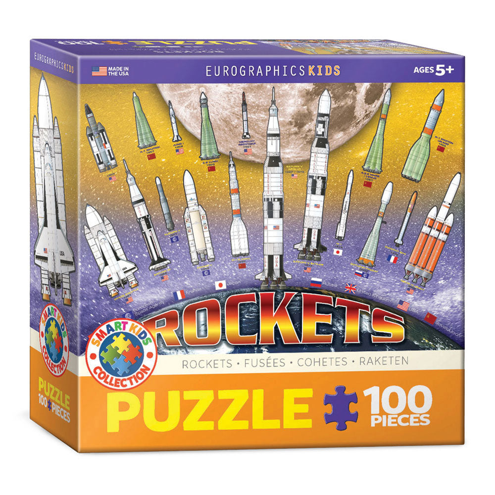 100 Piece Jigsaw Puzzle made from Recycled Paper depicting various Illustrated International Rockets throughout History with Earth and Moon shown in the Background in its original packaging by EuroGaphics.
