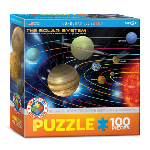 100 Piece Jigsaw Puzzle made from Recycled Paper depicting an Illustration of the Solar System, the Sun and its 9 Planets in its original packaging by EuroGaphics.