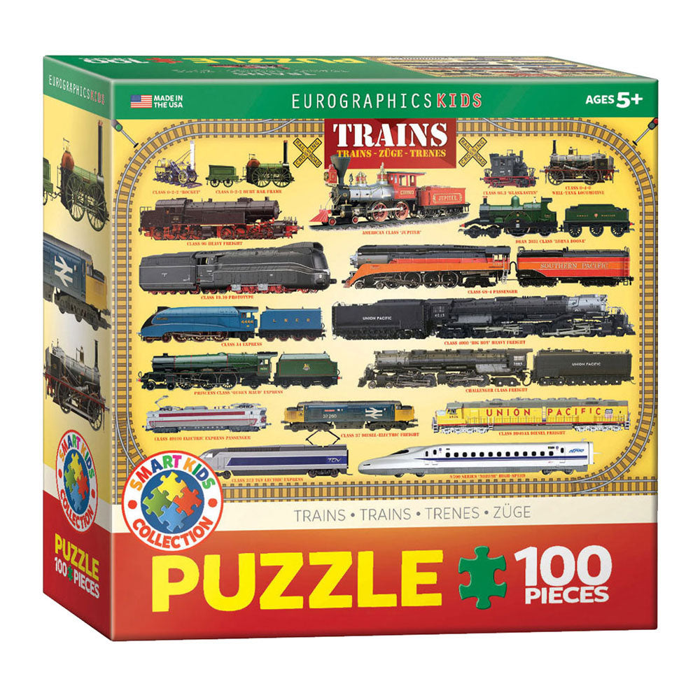 100 Piece Jigsaw Puzzle made from Recycled Paper depicting Illustrations of Various Steam and Diesel Locomotive Trains encircled by a Train Track Border in its original packaging by EuroGaphics.