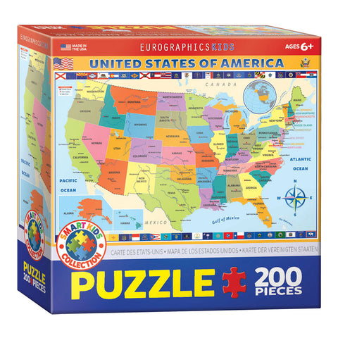 100 Piece Jigsaw Puzzle made from Recycled Paper depicting a Map of the 50 United States of America depicting all the State Flags in its original packaging by EuroGaphics.