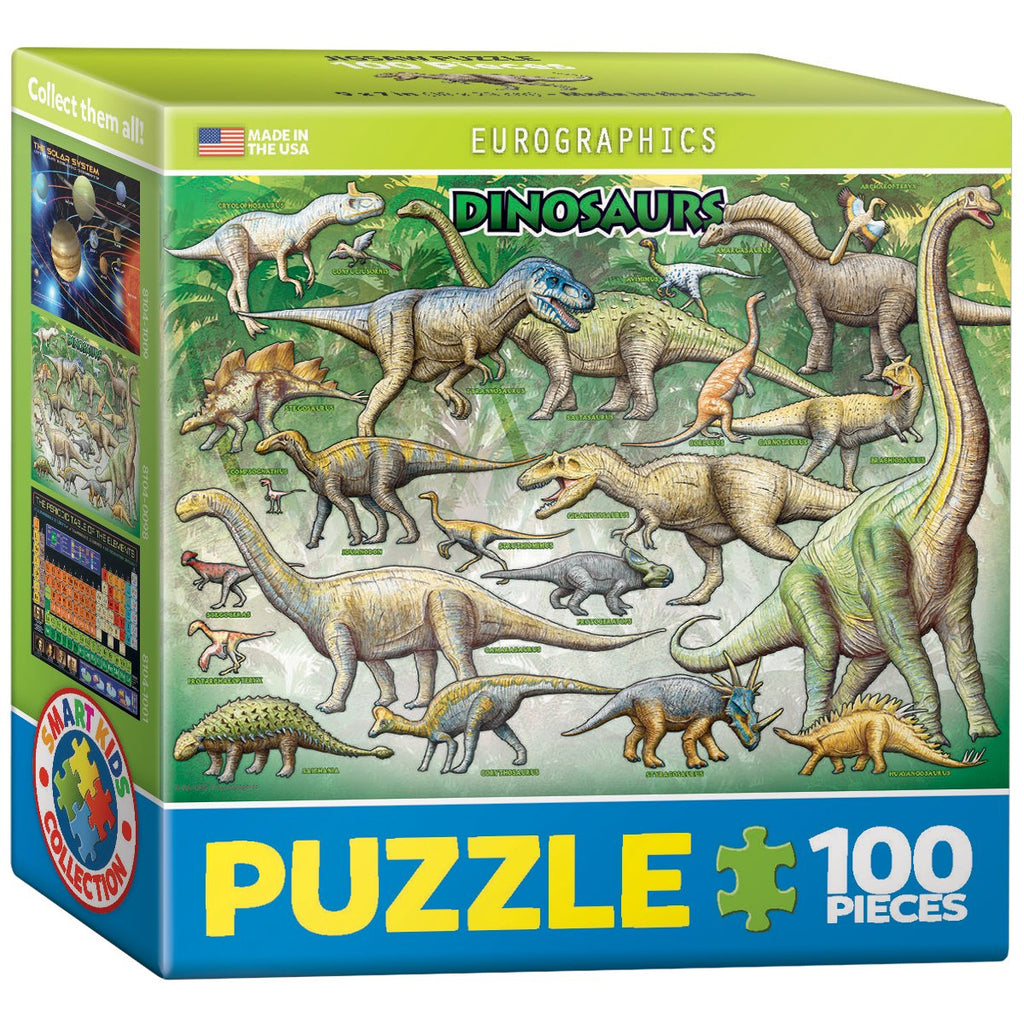 100 Piece Jigsaw Puzzle made from Recycled Paper depicting various Dinosaurs in its original packaging by EuroGaphics.