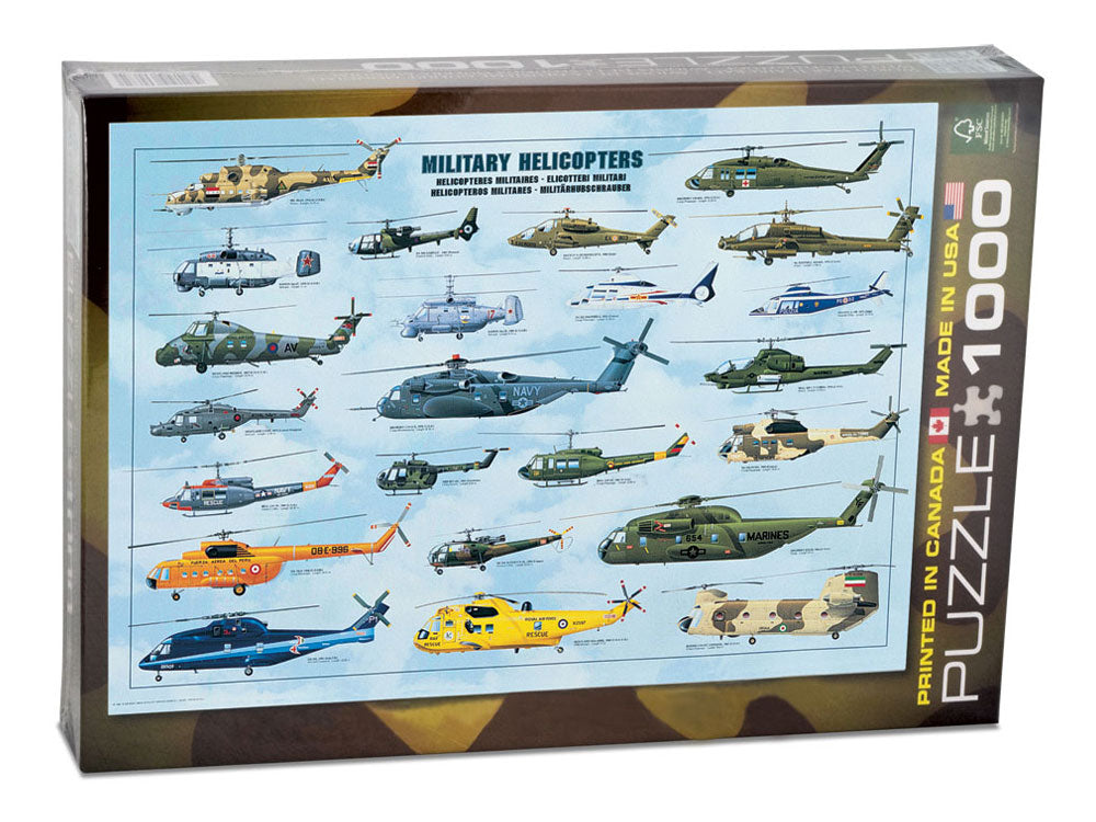 1,000 Piece Jigsaw Puzzle made from Recycled Paper depicting Various Military Helicopter Aircraft throughout History shown in its original packaging by EuroGraphics.